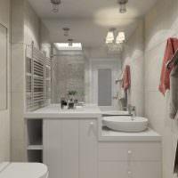 Встроенная мебель в дизайне совмещенной ванной комнаты