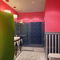 Розовый цвет в оформлении ванной
