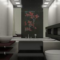 Темный кафель в ванной восточного стиля