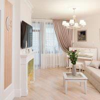 Дизайн небольшого зала в светлых тонах