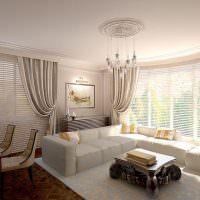 Белый диван около панорамного окна