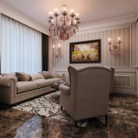 Глянцевое поверхность мраморного пола гостиной