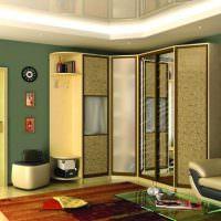 Шкаф-купе углового типа в дизайне гостиной