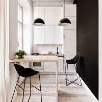 Черная стена в дизайне кухонного помещения