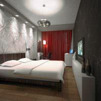 Освещение спальни в темных оттенках