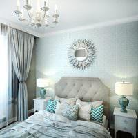 Декорирование зеркалом акцентной стены спальни