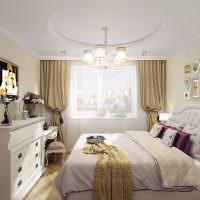 Белый комод в спальне классического стиля