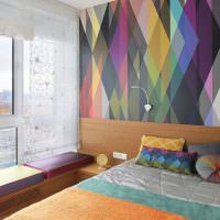 Фотообои с геометрическим орнаментом на стене спальни