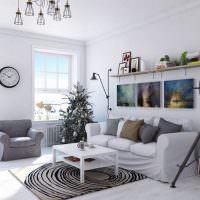 Светлый зал в скандинавском стиле