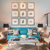 Яркие подушки в декоре гостиной