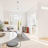 Дизайн белой гостиной в частном доме