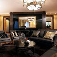 Мягкая мебель с черной обивкой