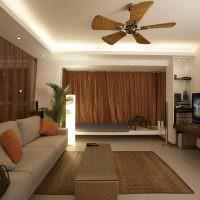 Коричневые шторы в гостиной панельного дома