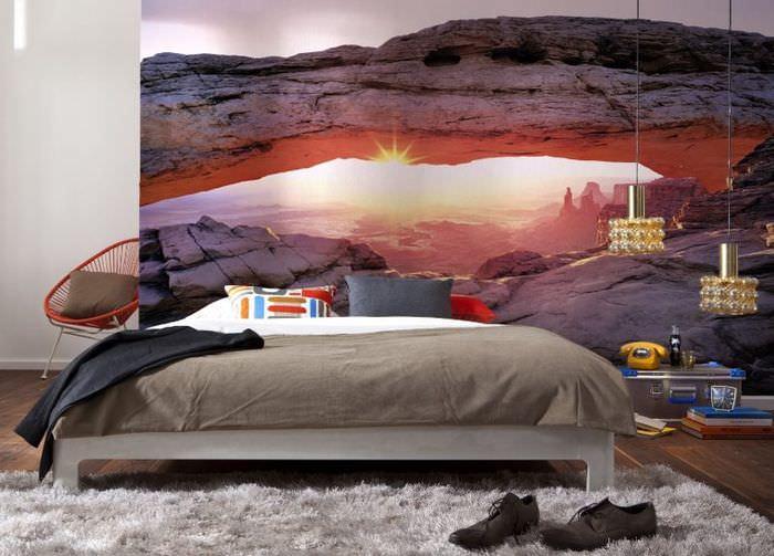 Фотообои в интерьере спальни таунхауса