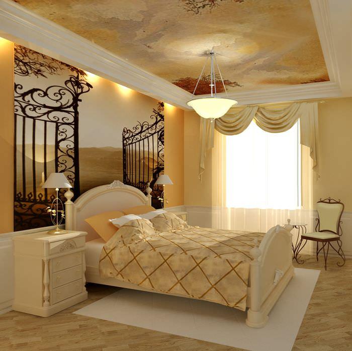 Узкая спальня в классическом стиле