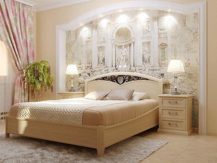 Украшение стены спальной комнаты с помощью фрески