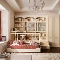 Подиум в гостиной с выдвижной кроватью