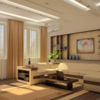 Дизайн гостиной с подсветкой потолка