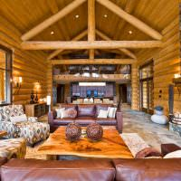 Дизайн гостиной в бревенчатом доме