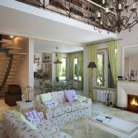 Зеленые занавески в гостиной с камином