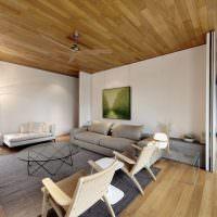 Ламинированные панели на потолке жилой комнаты
