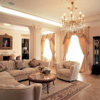 Напольные часы в интерьере классической гостиной