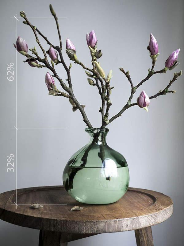 Соотношение размеров вазы и цветов по правилу золотого сечения