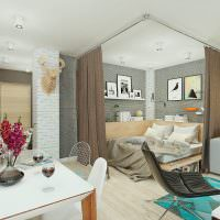Спальное место за шторами в общей комнате