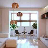Гостиная с присоединенной лоджией в стиле минимализма