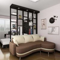 Черный стеллаж в светлой комнате