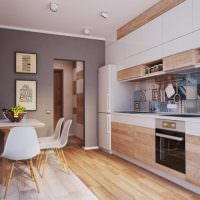 Деревянный пол в кухне-гостиной