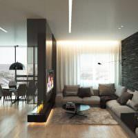 Черный цвет в дизайне квартиры-студии