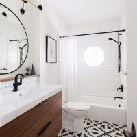 Дизайн ванной комнаты с белыми стенами