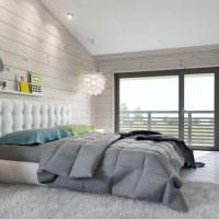 Отделка стен спальни широкой шпунтованной доской