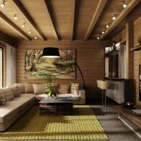 Дизайн гостиной с деревянной обшивкой