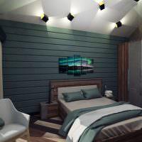 Спальня в темных оттенках в деревянном доме