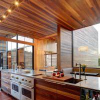 Современная кухня с отделкой деревянными панелями