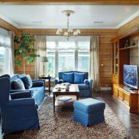Мягкая мебель с синей обивкой