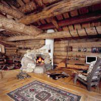 Ретро интерьер бревенчатого дома