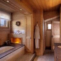 Ванная комната с облицовкой деревом