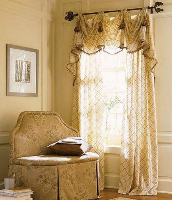 Итальянские шторы в дизайне гостиной