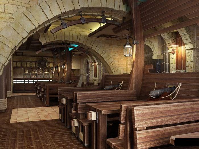 Каменные арки внутри пивного бара