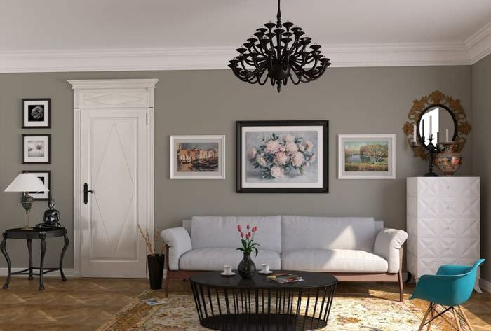 Декорирование стен комнаты картинами различного формата