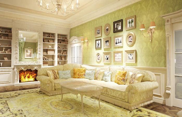 Декорирование картинами стены над диваном