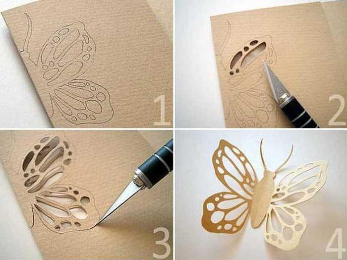 Порядок вырезания декоративной бабочки из куска картона