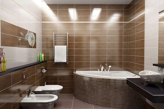 Интерьер совмещенной ванны в коричневом цвете
