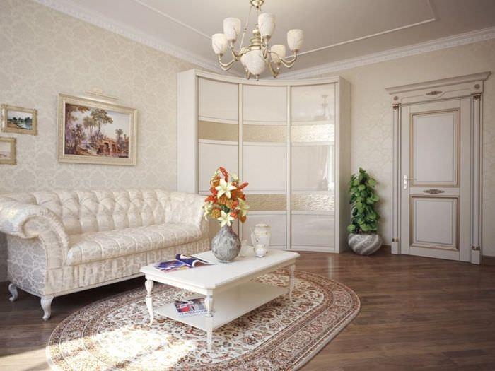 Белый угловой шкаф-купе в гостиной комнате