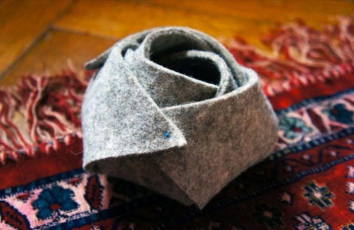 Декоративная корзинка из куска обычного войлока