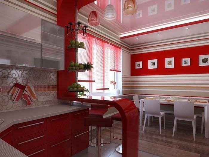 Красная барная стойка в современном стиле