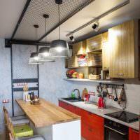 Планировка узкой кухни с барным островом